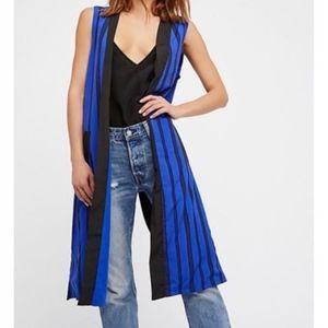 Free People Blue Black V Stripe Vest